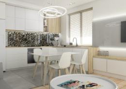 Tiuk Studio -projekt salon z kuchnia w bloku I projektowanie i aranzacja wnetrz piekary slaskie I LOGO