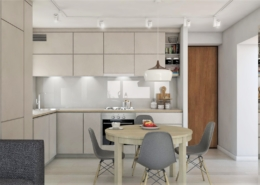 Tiuk Studio - projekt salon z kuchnia w bloku I projektowanie i aranzacja wnetrz piekary slaskie I projekt jadaln