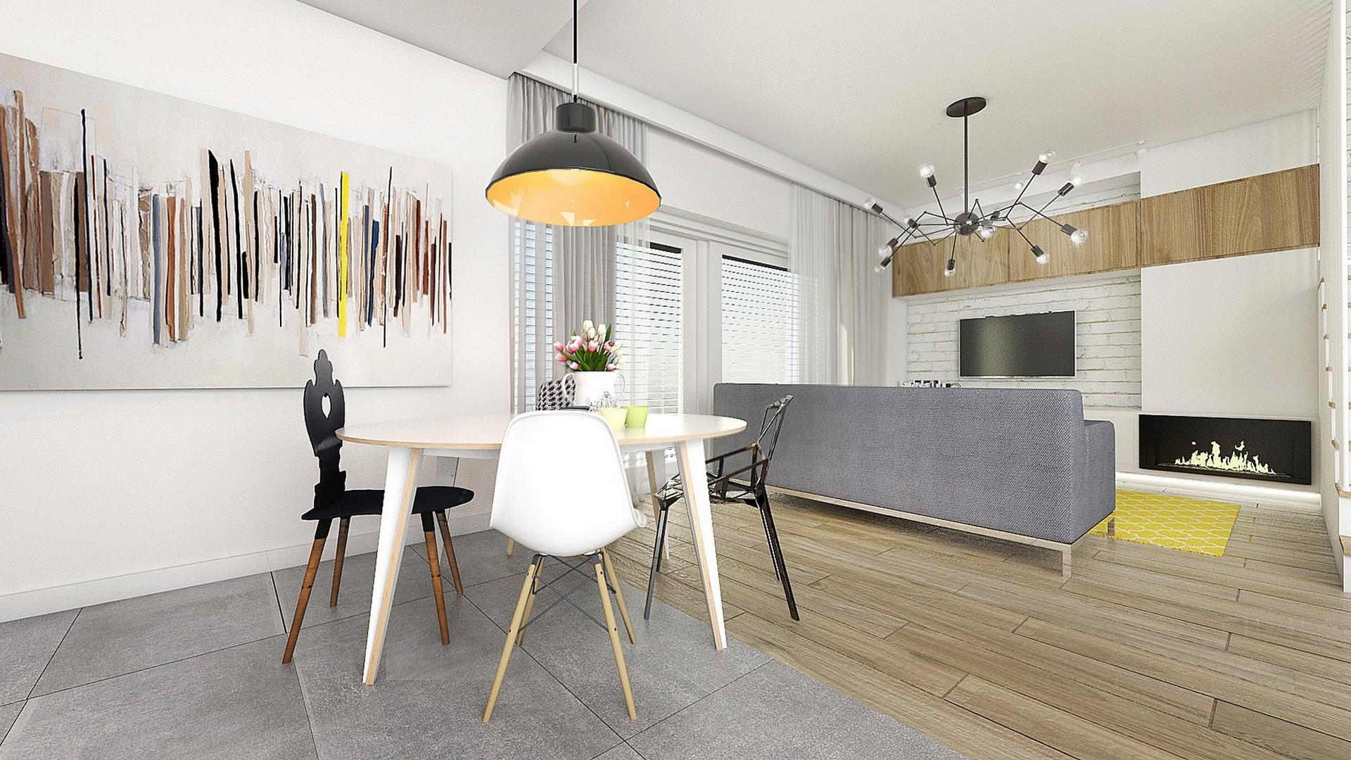Tiuk Studio projekt salonu z kuchnią I parter domu jednorodzinnego I projektowanie wnętrz piekary śląskie I pro