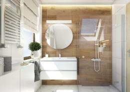 Tiuk Studio projekt łazienki na poddaszu I projektowanie wnetrz piekaRy śląskie