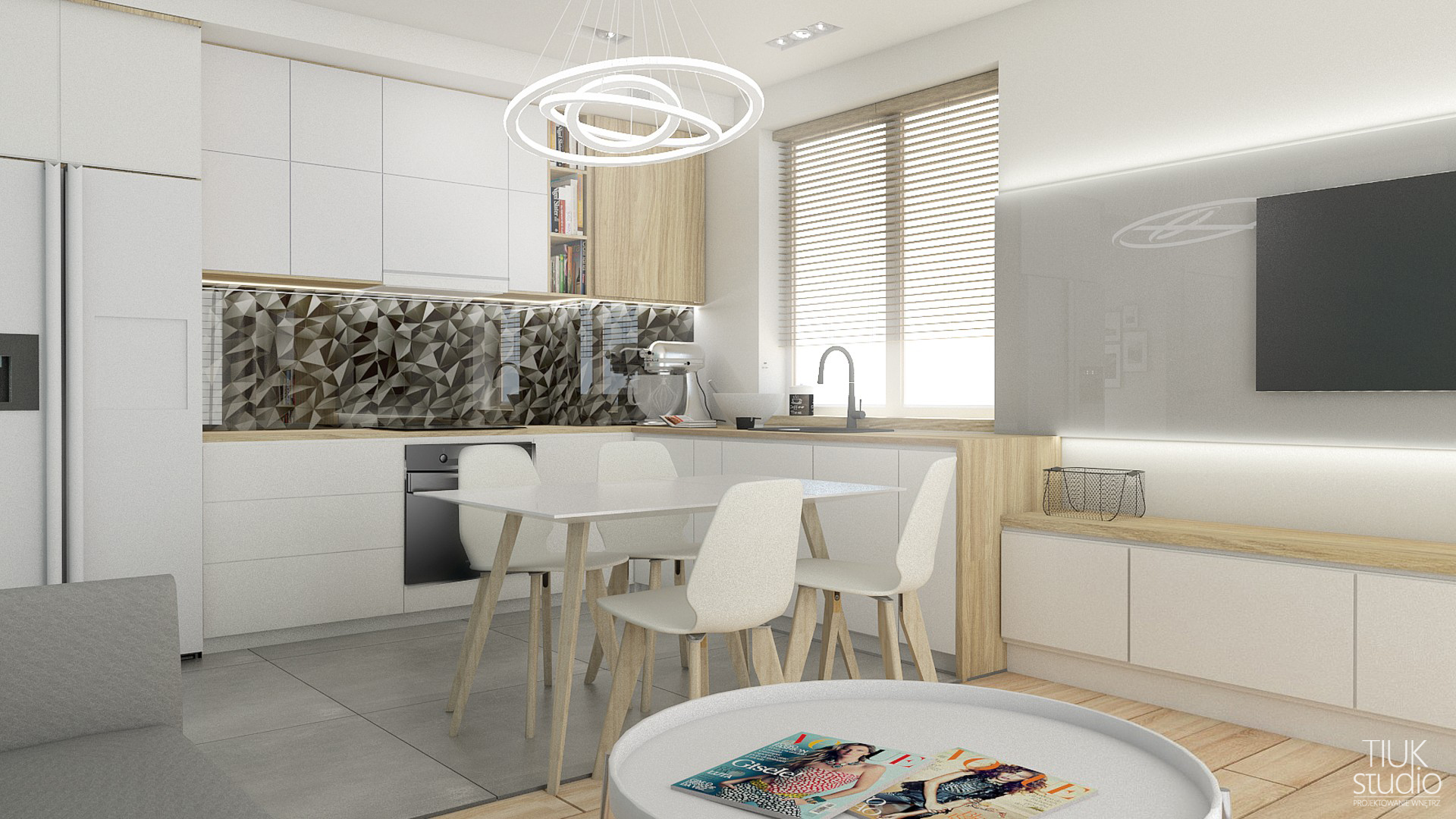 Tiuk Studio -projekt salon zkuchnia wbloku Iprojektowanie iaranzacja wnetrz piekary slaskie ILOGO