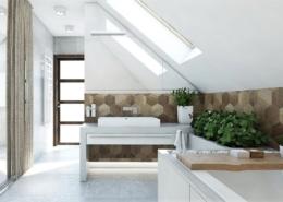 Tiuk Studio - projekt łazienki dom jednorodzinny poddasze Iaranżacja łazienki Iprojektowanie iaranżacja