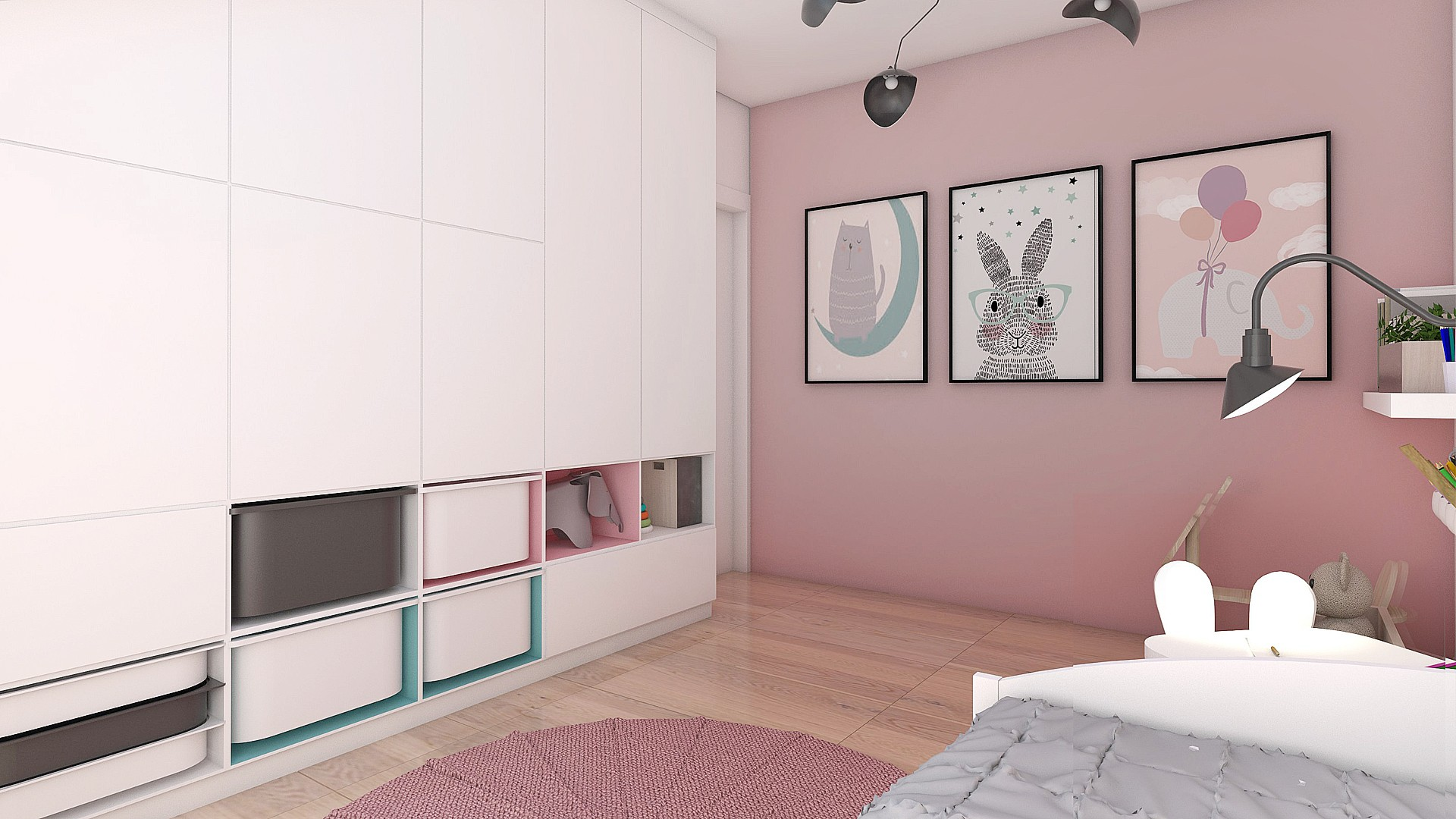 Tiuk Studio -projekt pokoju dziecka Ipokój dziecka wdomu Ipokój dzieczynki Iprojektowanie wnetrz iaranżacja