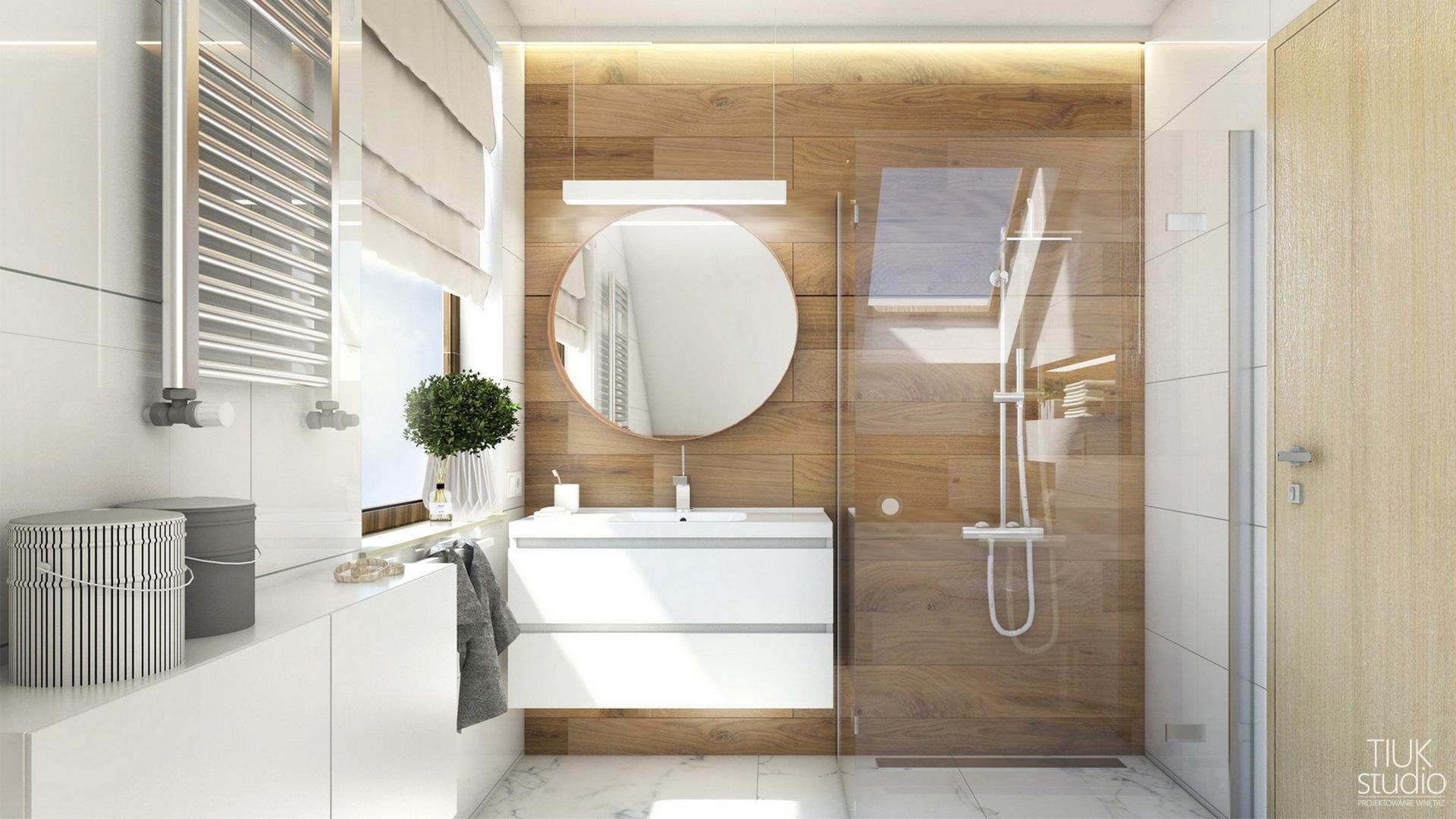 Tiuk Studio projekt łazienki napoddaszu Iprojektowanie wnetrz piekaRy śląskie