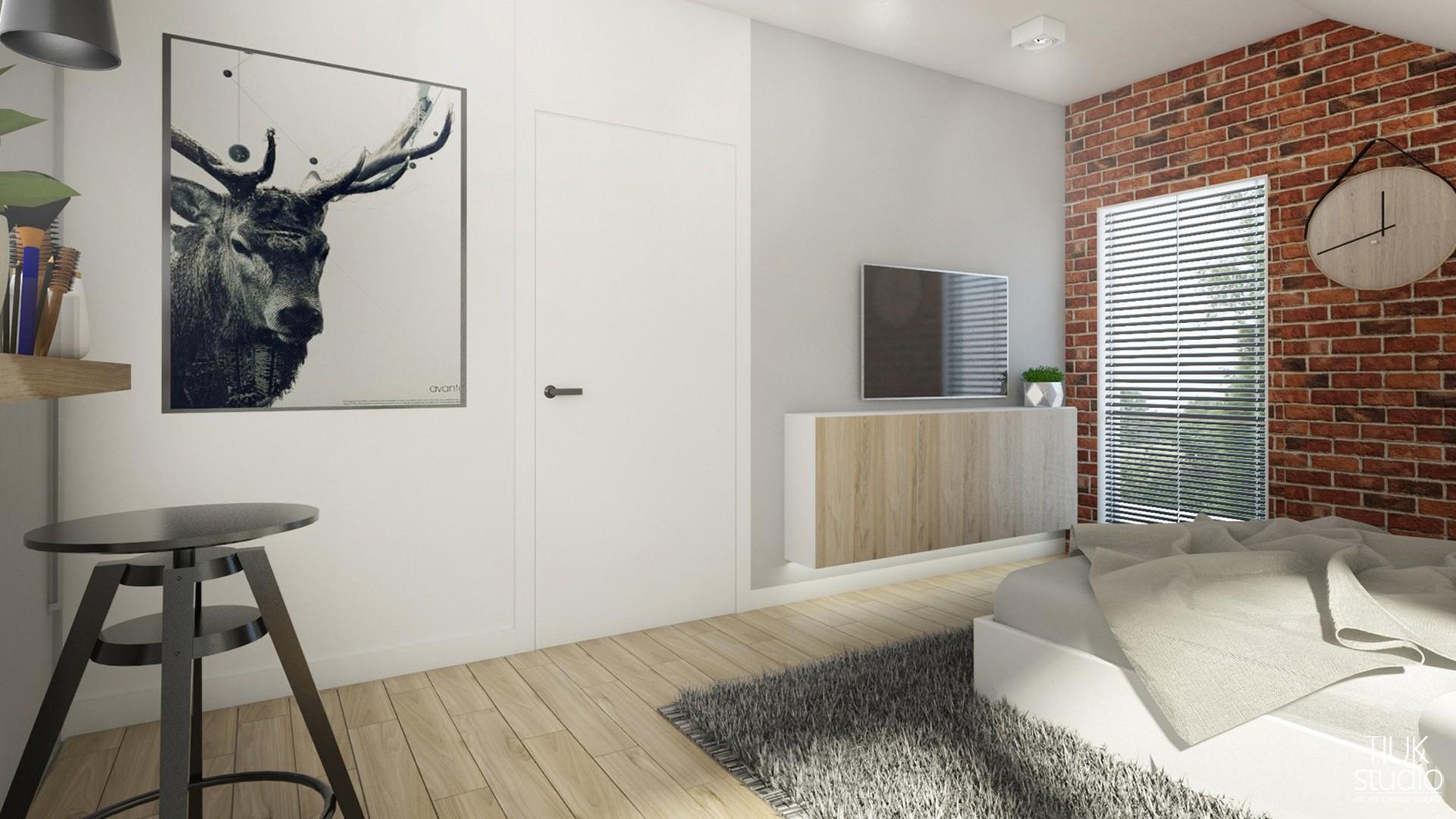 2projekt sypialni na poddaszu I aranżacja sypialni w domu jednorodzinnym I LOGO