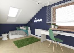 Tiuk Studio projekt pokoju chłopca napoddaszu Iaranżacja pokoju wdomu jednorodzinnym Iprojektowanie wnetrz