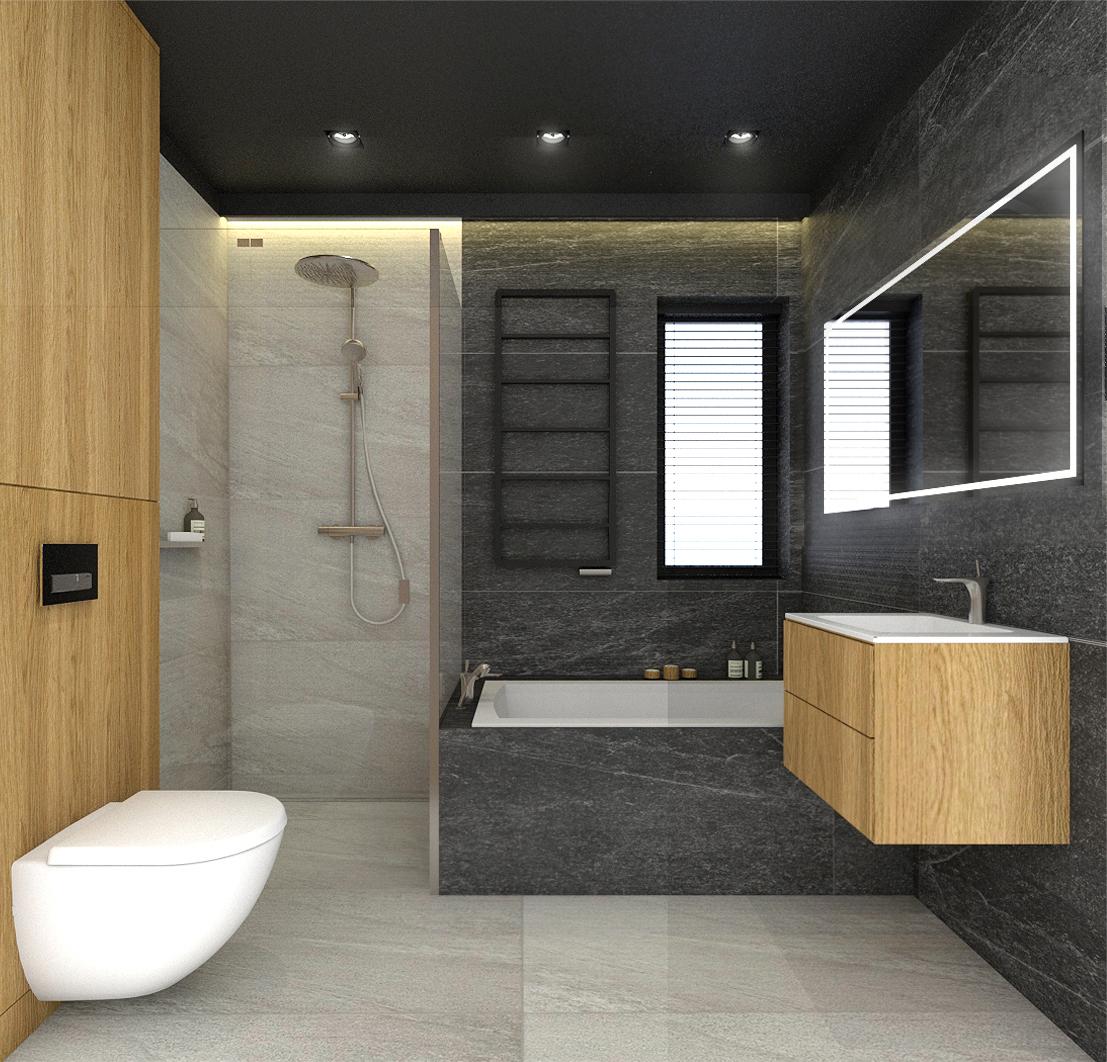 łazienka Z Czarnym Sufitem Projektowanie I Aranżacja